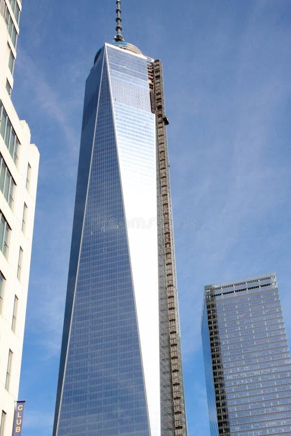 世界贸易一的反射在NYC的 免版税库存照片
