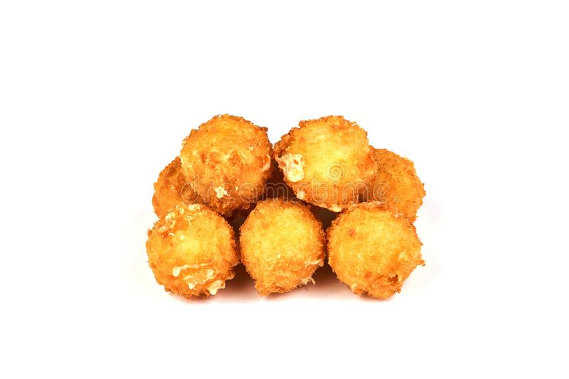 乳酪在白色背景隔绝的球油炸圈饼 免版税库存图片