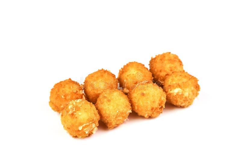 乳酪在白色背景隔绝的球油炸圈饼 免版税图库摄影