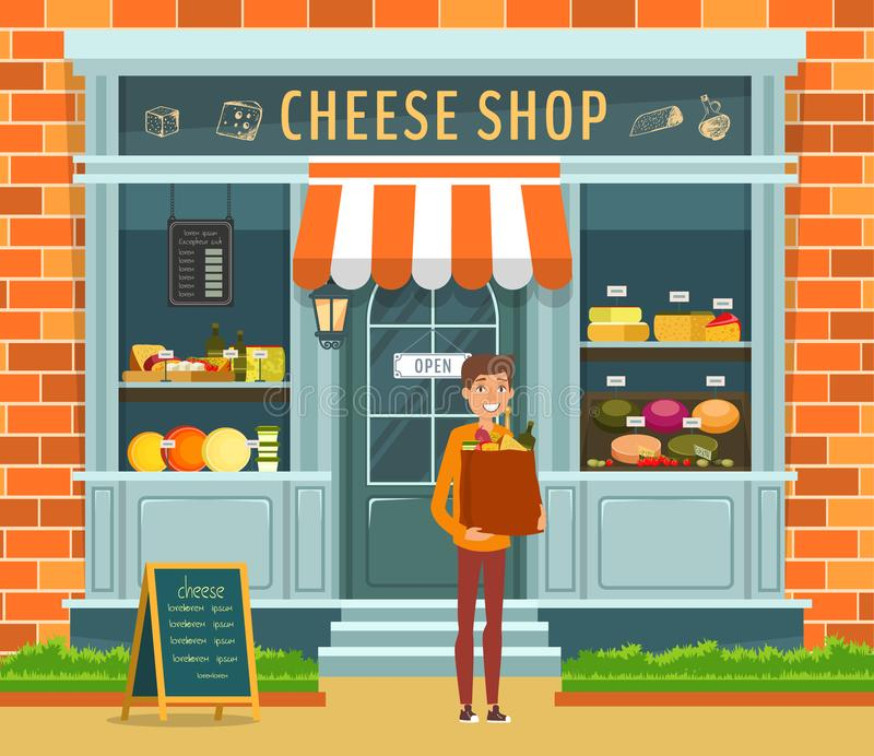 乳酪商店和买家陈列室有包裹的 向量例证