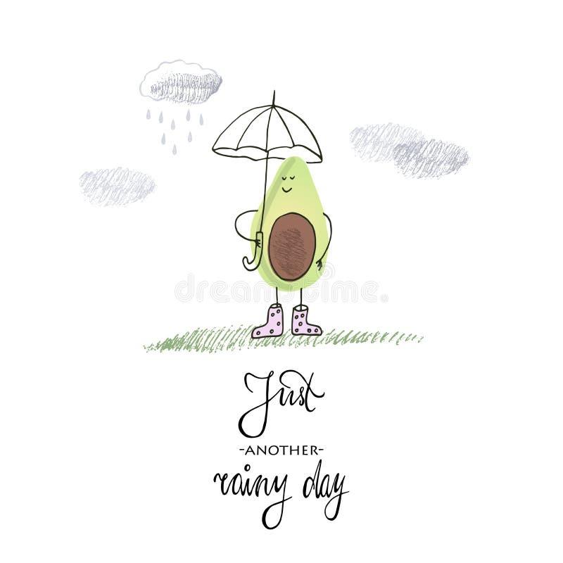 也corel凹道例证向量 鲕梨在雨中 行情和图画 向量例证