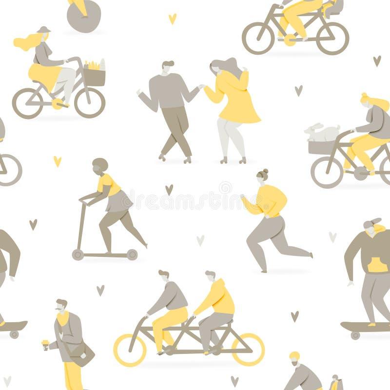 人乘坐的自行车在公园 免版税库存图片