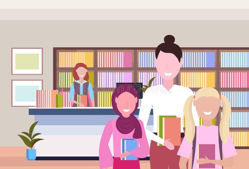 人从图书管理员现代图书馆书店内部书橱的借款书有读教育知识的书的 向量例证