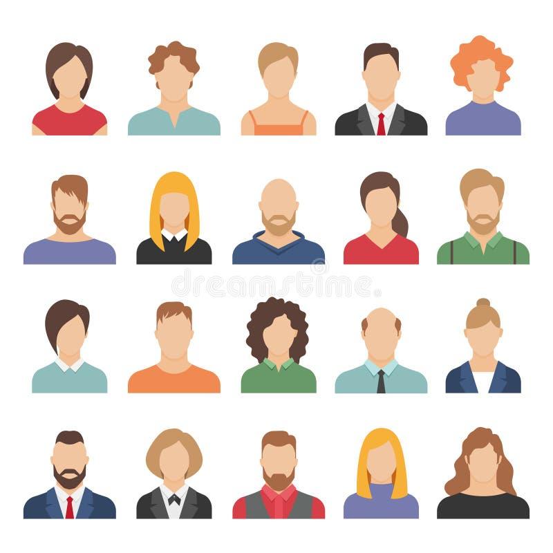 人企业具体化 工作办公室专业年轻女性男性动画片面孔画象平的设计的队具体化 向量例证
