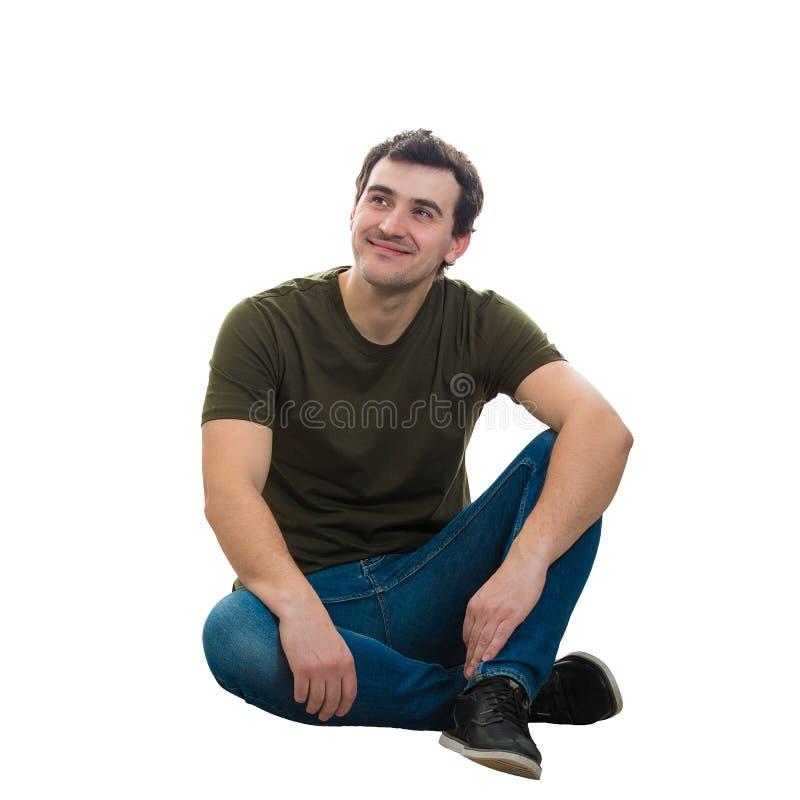 人坐有想法 免版税库存照片