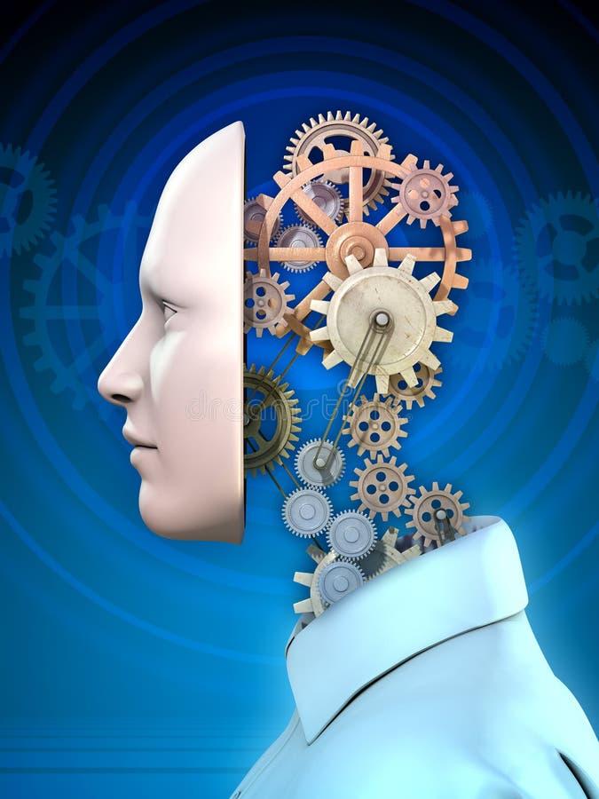 人头和齿轮 向量例证