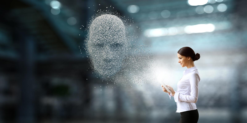 人工智能和未来技术 混合画法 库存图片