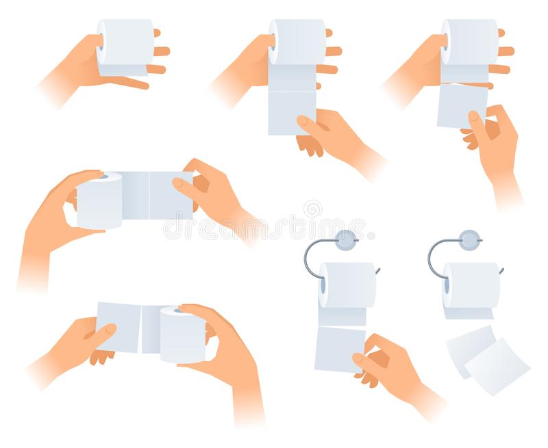 人的手拿着手纸卷  免版税库存图片