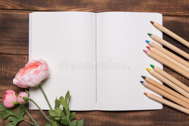 事务、办公用品或者教育概念:开放笔记本的顶视图图象有空白页的在木背景 库存图片