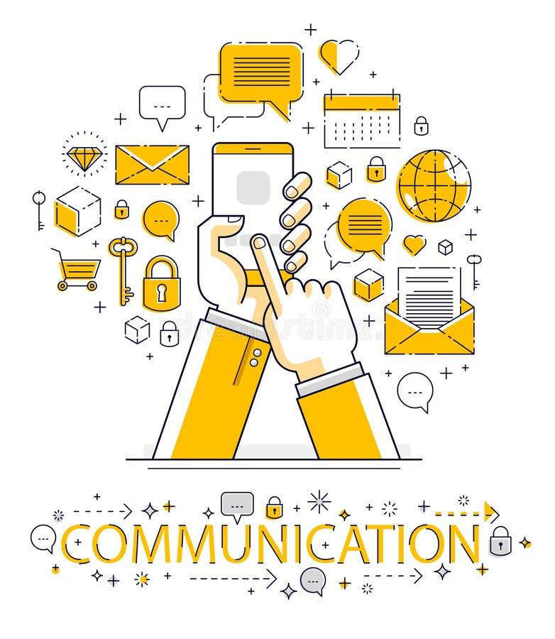 互联网通信和活动,拿着电话和使用应用程序,全球网络,现代通信,信使的人手, 皇族释放例证