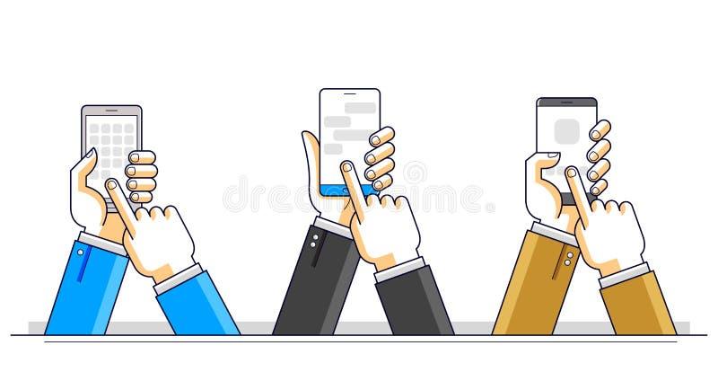 互联网通信和活动,拿着电话和使用应用程序,全球网络,现代通信,信使的人手 皇族释放例证
