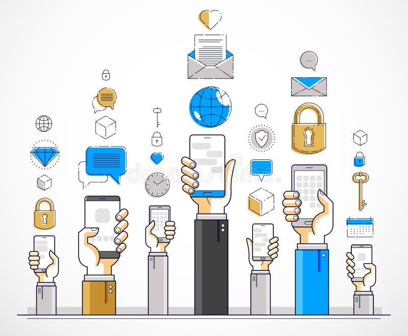 互联网通信和活动,拿着电话和使用应用程序,全球网络,现代通信,信使的人手 库存例证