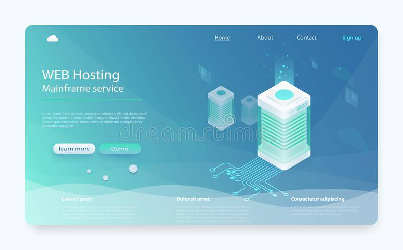 互联网datacenter连接概念 等量的主服务器,网络主持的管理员 向量例证