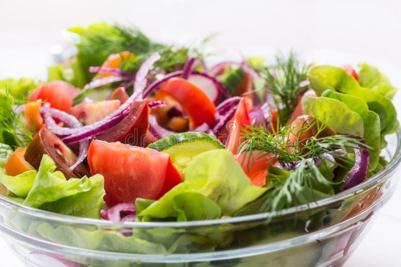 五颜六色和健康新鲜蔬菜沙拉 库存照片