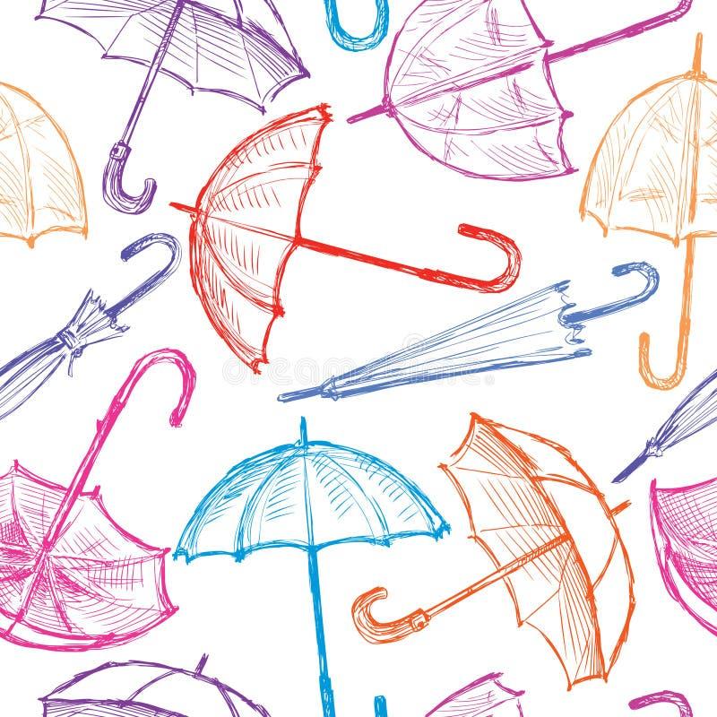 五颜六色的伞剪影的样式  库存例证