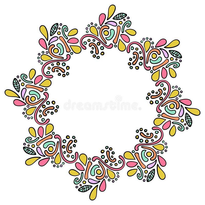 五颜六色的手拉的坛场印度框架 在白色背景隔绝的圆的卷曲框架 皇族释放例证