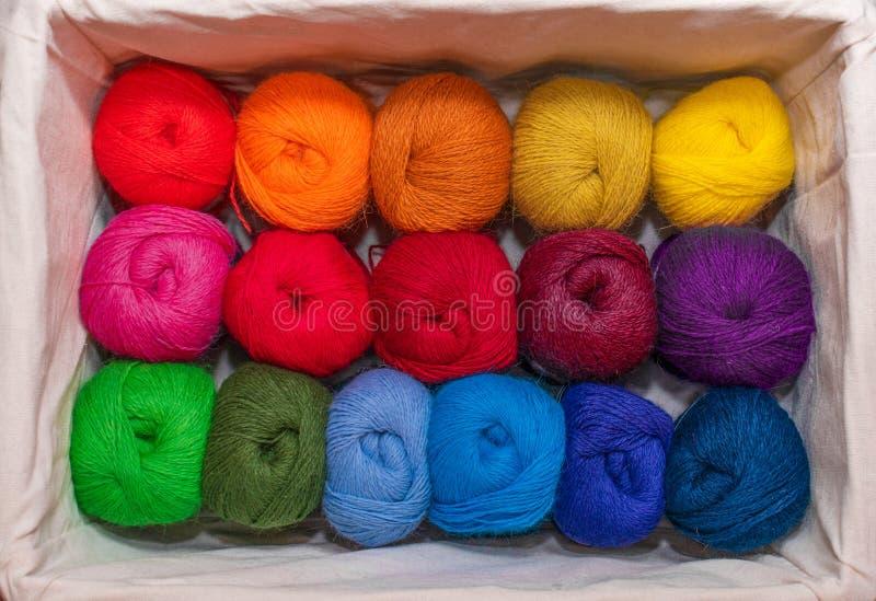 五颜六色的螺纹丝球在的刺绣的温暖的颜色和缝合在箱子 库存照片