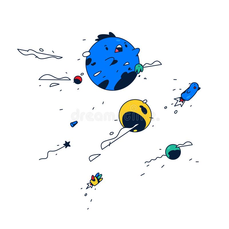 令人惊讶的卡通人物 蓝色泡影在空间浮动 逗人喜爱的妖怪 向量 快乐的幻想世界 贴纸 a的吉祥人 库存例证