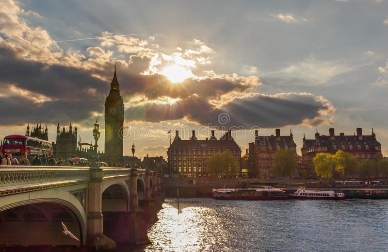 令人惊讶的日出在伦敦,欧洲 库存图片