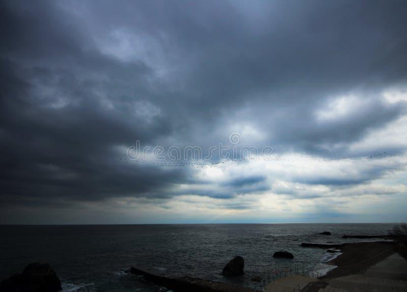 令人惊讶的风雨如磐的海视图 免版税库存图片
