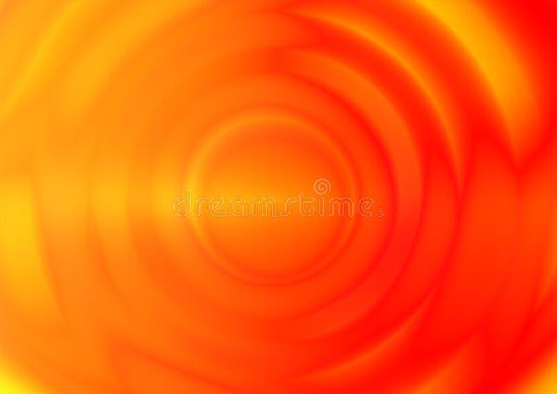 从中心的橙色波纹振动波浪 向量例证