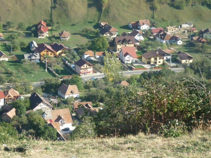 从上面被摆在的罗马尼亚村庄 免版税图库摄影