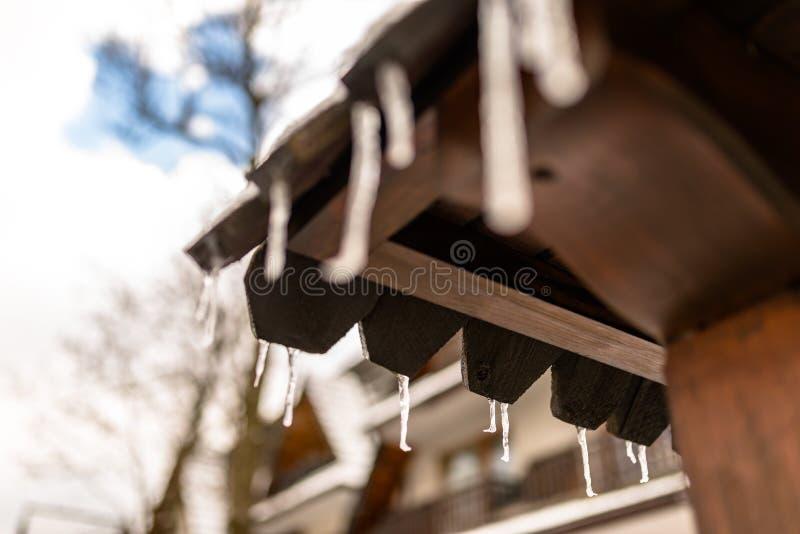 从一个木大厦在一冬天冷淡的天,在屋顶的很多雪的屋顶的垂悬的冰柱 库存照片
