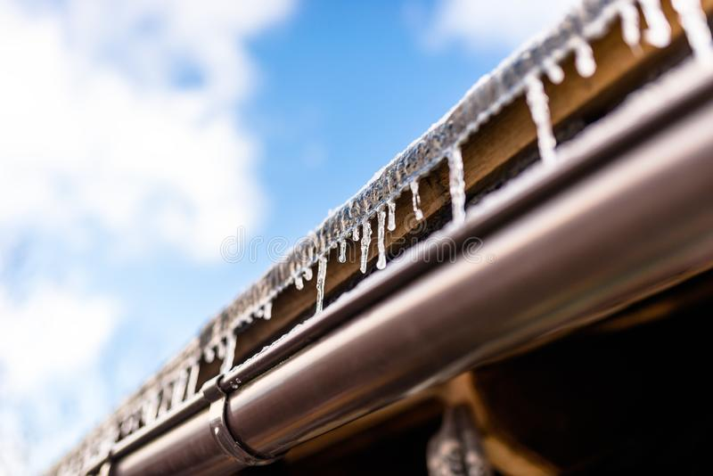 从一个木大厦在一冬天冷淡的天,在屋顶,可看见的塑料天沟的很多雪的屋顶的垂悬的冰柱和 库存照片
