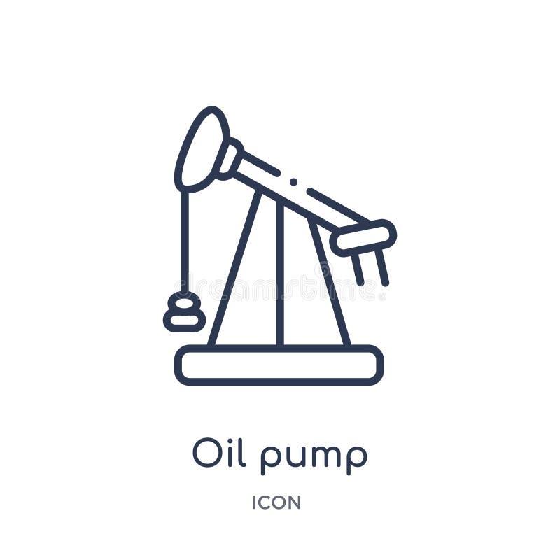 从产业概述汇集的线性油泵象 稀薄的线在白色背景隔绝的油泵象 时髦的油泵 向量例证