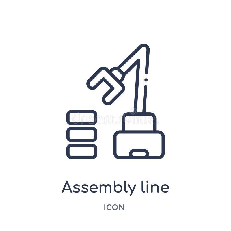 从产业概述汇集的线性装配线象 稀薄的线装配线在白色背景隔绝的象 的assam 库存例证