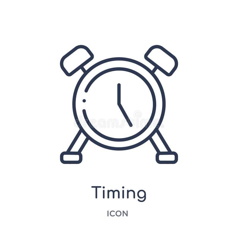 从人力资源概述汇集的线性计时的象 稀薄的线在白色背景隔绝的时间象 时髦的时间 向量例证