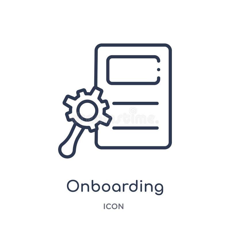从人力资源概述汇集的线性onboarding的象 稀薄的线在白色背景隔绝的onboarding的象 Onboarding 向量例证