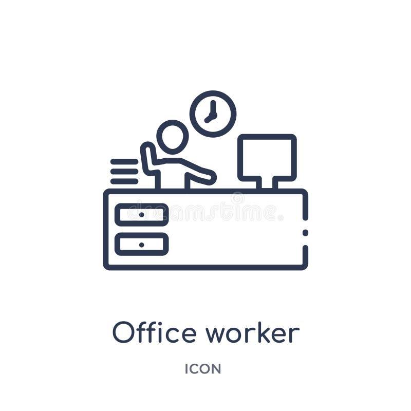 从人概述汇集的线性办公室工作者象 稀薄的线在白色背景隔绝的办公室工作者象 背景绿色办公室工作者 向量例证