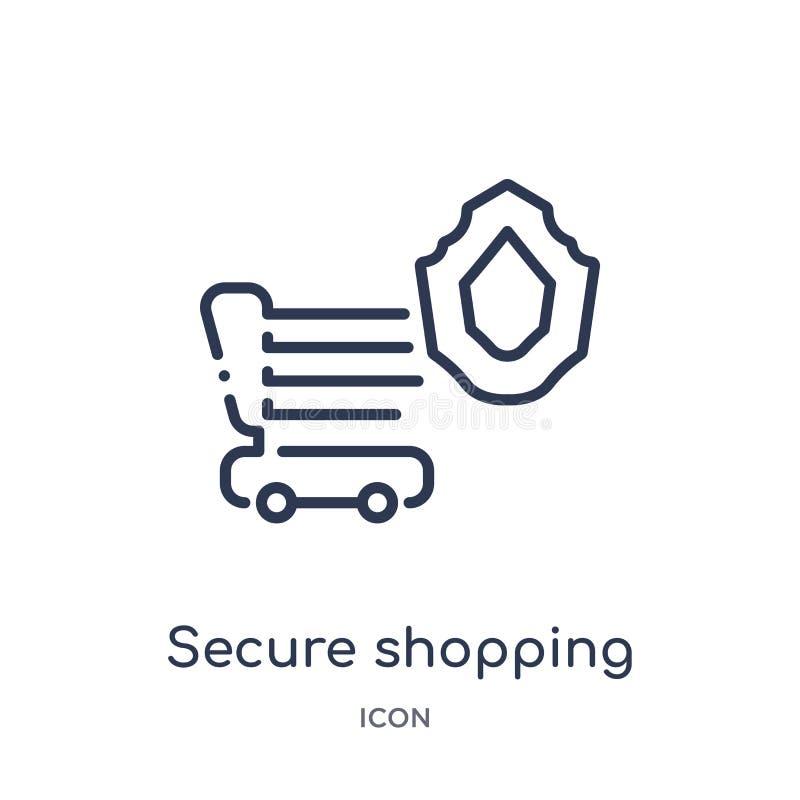从互联网安全概述汇集的线性安全购物的象 稀薄的线在白色背景隔绝的安全购物的象 库存例证