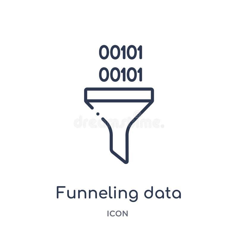 从企业和逻辑分析方法概述汇集的线性集中的数据象 集中数据向量的稀薄的线隔绝在白色 库存例证