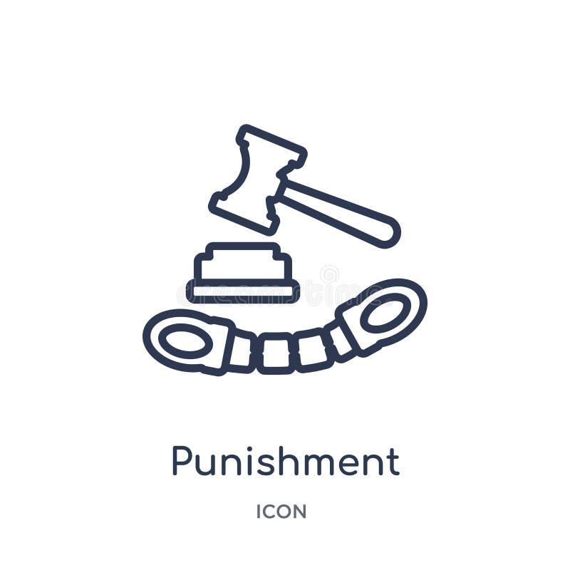 从企业概述汇集的线性处罚象 稀薄的线在白色背景隔绝的处罚象 时髦的处罚 皇族释放例证