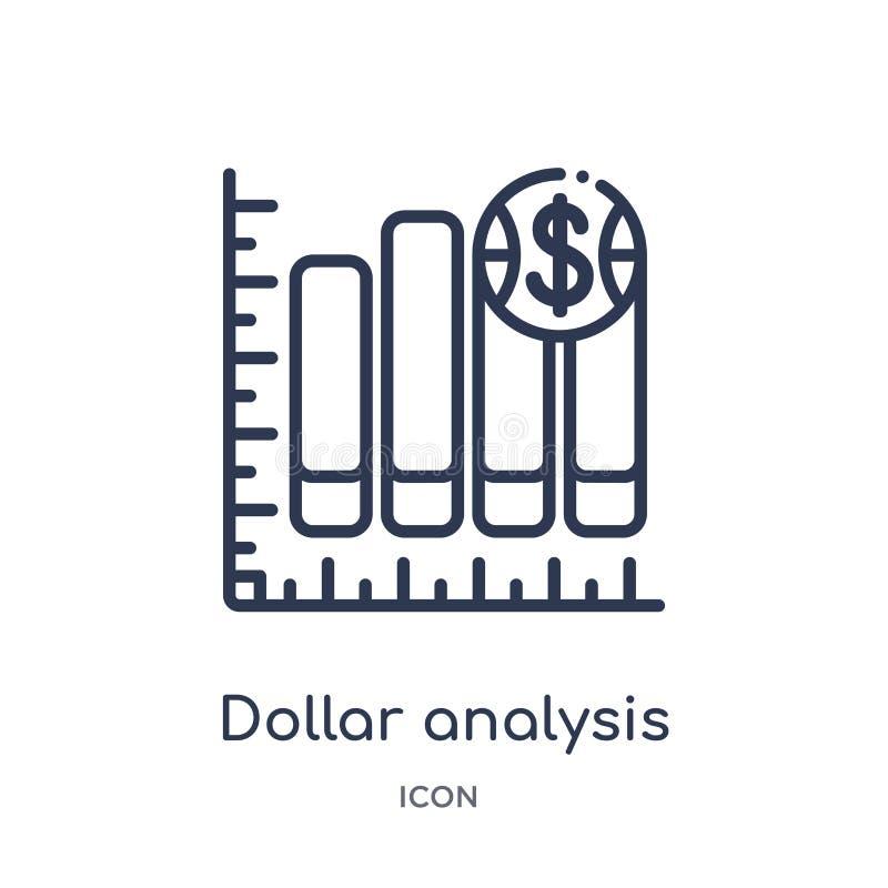 从企业概述汇集的线性美元分析长条图象 稀薄的线美元分析被隔绝的长条图象  向量例证
