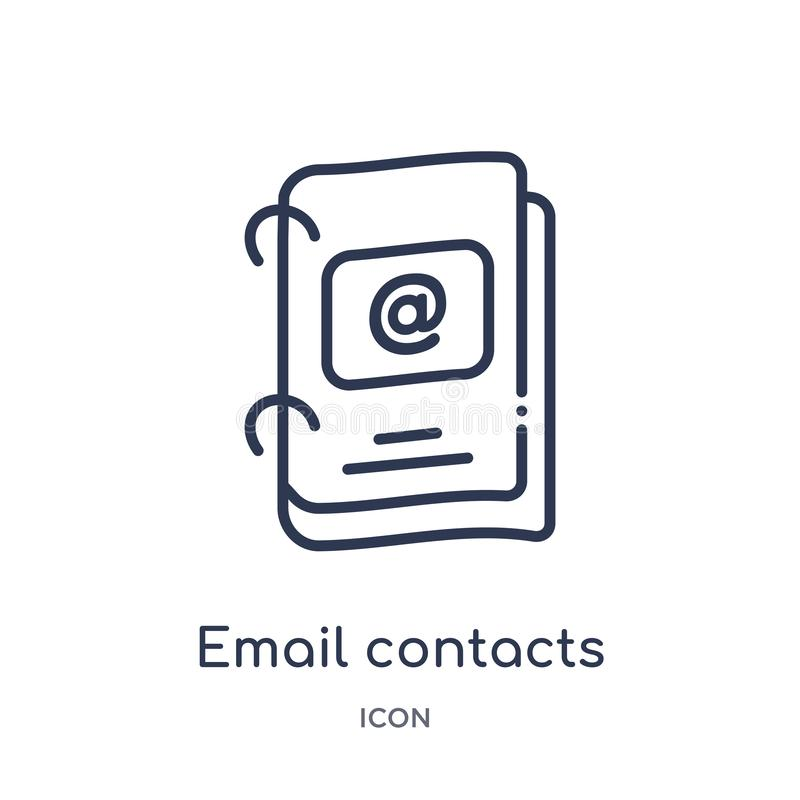 从企业概述汇集的线性电子邮件联络象 稀薄的线电子邮件在白色背景隔绝的联络象 电子邮件 皇族释放例证