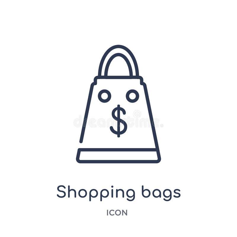 从企业概述汇集的线性购物带来象 稀薄的线在白色背景隔绝的购物带来象 购物 向量例证