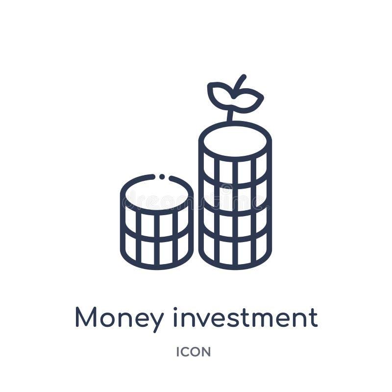 从企业概述汇集的线性金钱投资象 稀薄的线金钱在白色背景隔绝的投资象 货币 皇族释放例证