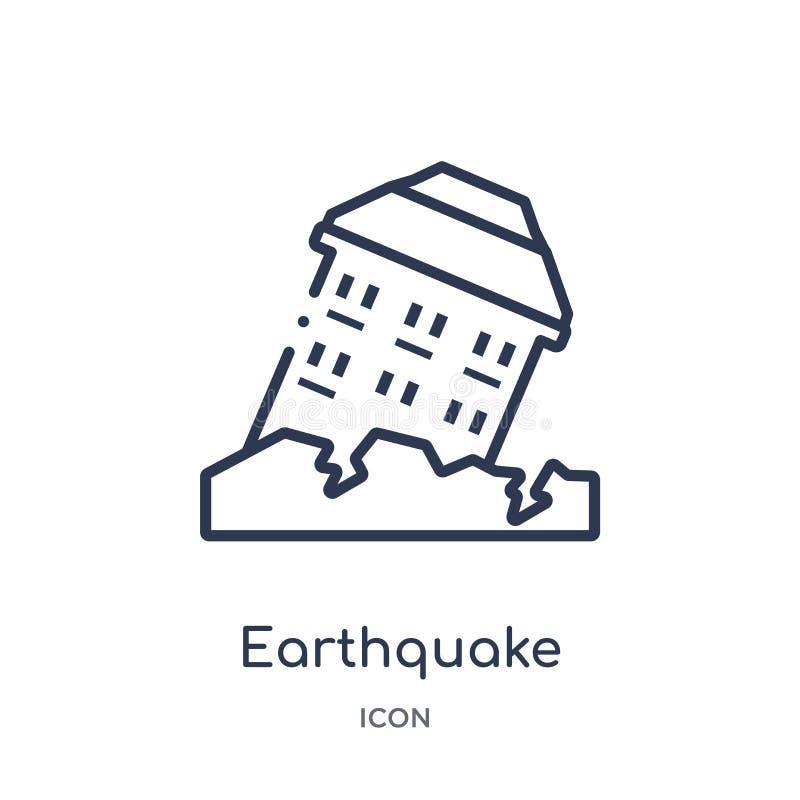 从保险概述汇集的线性地震象 稀薄的线在白色背景隔绝的地震象 地震 向量例证