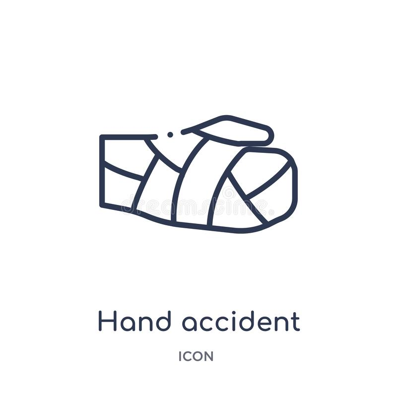 从保险概述汇集的线性手事故象 稀薄的线手在白色背景隔绝的事故象 手 向量例证