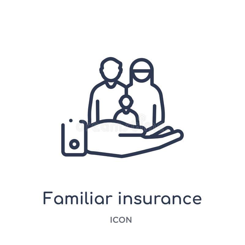 从保险概述汇集的线性熟悉的保险象 稀薄的线在白色背景隔绝的熟悉的保险象 向量例证
