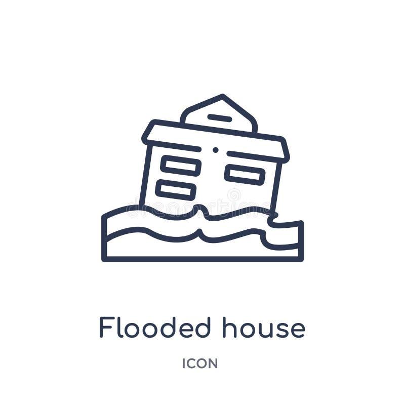 从保险概述汇集的线性被充斥的房子象 稀薄的线充斥了在白色背景隔绝的房子象 充斥 皇族释放例证