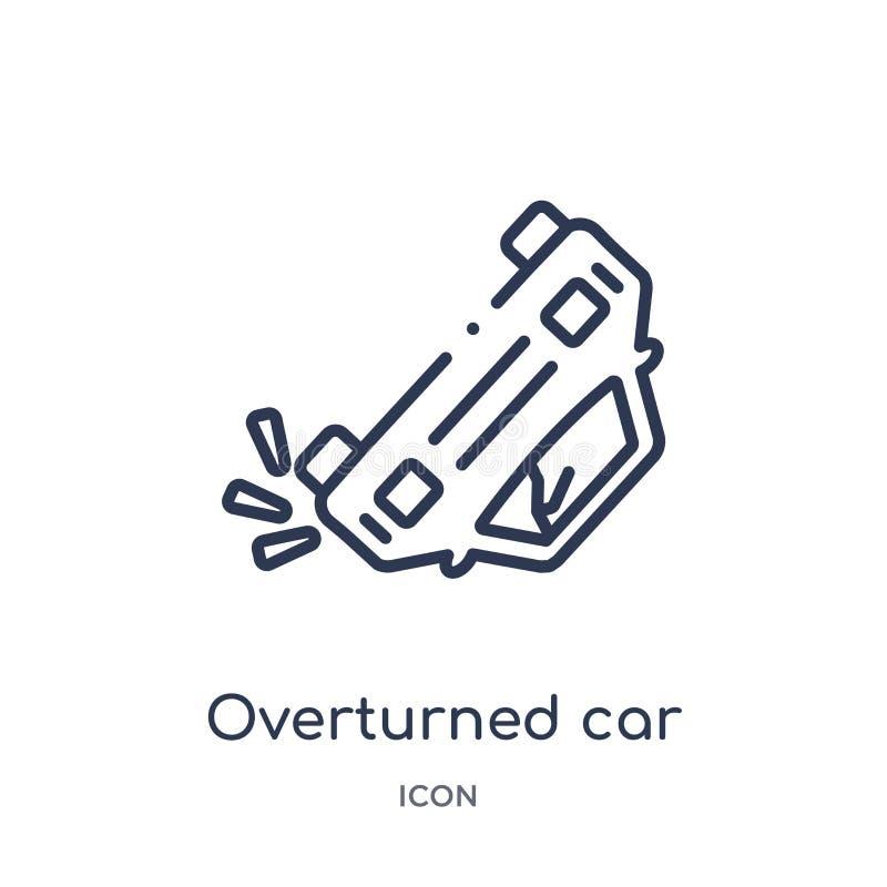 从保险概述汇集的线性被翻转的汽车象 稀薄的线翻转了在白色背景隔绝的汽车象 向量例证