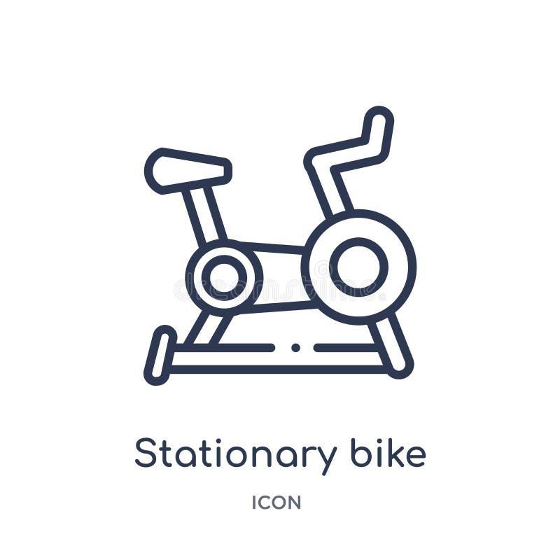 从健康概述汇集的线性固定式自行车象 稀薄的线在白色背景隔绝的固定式自行车象 库存例证