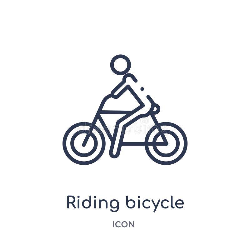 从健身房和健身概述汇集的线性乘坐的自行车象 稀薄的线骑马在白色背景隔绝的自行车象 库存例证