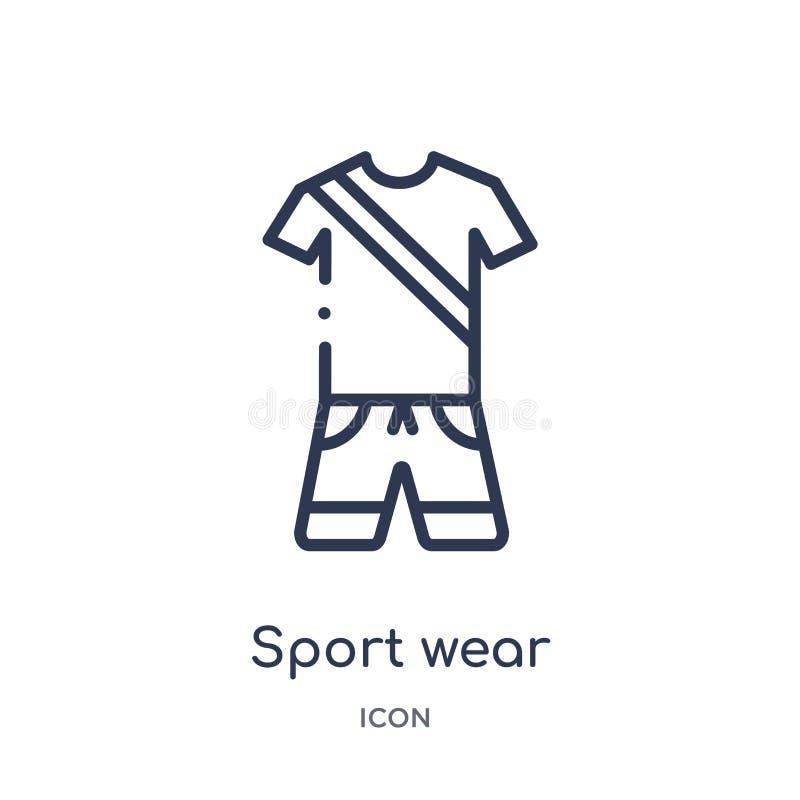 从健身房和健身概述汇集的线性体育穿戴象 稀薄的线体育在白色背景隔绝的穿戴象 体育穿戴 皇族释放例证