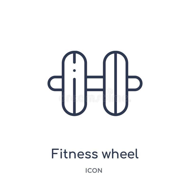 从健身房和健身概述汇集的线性健身轮子象 稀薄的线健身在白色背景隔绝的轮子象 皇族释放例证