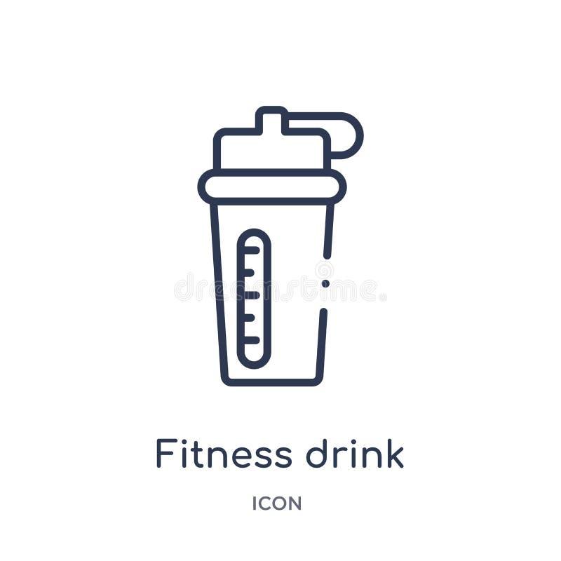从健身房和健身概述汇集的线性健身饮料象 稀薄的线健身在白色背景隔绝的饮料象 库存例证